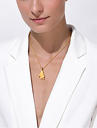 cheap -Personalized Customized Women's Pendant Necklace Stainless Steel Geometrical Triangle 1pc / pack Golden Silver