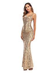 cheap -Women's Sheath Dress Maxi long Dress - Sleeveless Solid Color Backless Sequins Summer Strapless Sexy Party Slim 2020 Gold S M L XL