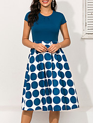 cheap -Women's A Line Dress Knee Length Dress Blue Short Sleeve Polka Dot Print Geometric Ruched Pleated Patchwork Spring & Summer Round Neck 1950s Hot Elegant Going out 2021 S M L XL XXL