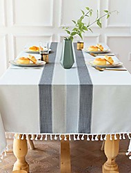 cheap -Tablecloth Stitching Tassel Cotton Linen Tablecloth Wrinkle Free Dust-proof Table Cover for Kitchen Dining Room Home Tabletop Decoration Rectangle