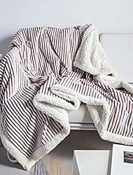 """cheap -sherpa fleece blanket throw blanket soft blanket plush fluffy blanket warm cozy with brown and white strip perfect throw for all seasons for couch bed sofa & #40;brown, 51"""" x63& #39;&"""