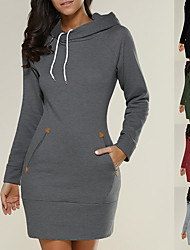 cheap -Women's Tee Dress Black Minimalist Hoodie Cotton Solid Color Cute Sport Athleisure Dress Long Sleeve Warm Soft Comfortable Everyday Use Exercising General Use / Winter