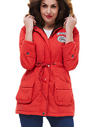 cheap -Women's Down Parka Solid Colored Gray Goose Down Long Nylon Red / Army Green S / M / L
