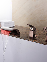 cheap -Bathtub Faucet - Contemporary Oil-rubbed Bronze Roman Tub Ceramic Valve Bath Shower Mixer Taps / Brass / Single Handle Three Holes