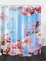 cheap -Peach Blossom Print Waterproof Fabric Shower Curtain for Bathroom Home Decor Covered Bathtub Curtains Liner Includes with Hooks 72 Inch