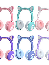 cheap -Cat Ear Wireless Overear Headphones Cute Bluetooth Stereo LED Glowing Earphones Dual Drivers with Volume Control HIFI for Girls Kids Gifts Valentine's
