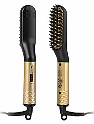 cheap -beard straightener brush, hair straightening brush, hot heated comb with anti-scald ceramic protection, fast shaping for beard grooming and hair styling for men and women (gold)
