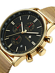 cheap -men's watches luxury fashion analog dress chronograph sports waterproof quartz wristwatches with date stainless steel mesh band wrist watch with date in black gold red