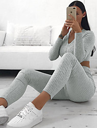 cheap -Women's Solid Colored Two Piece Set Tracksuit Set Pant Drawstring Tops