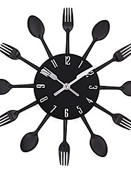 cheap -kitchen wall clocks 3d art decorative hanging removable clock with forks and spoons for home decor (12.9in-black)