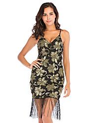 cheap -Women's A-Line Dress Knee Length Dress - Sleeveless Solid Color Sequins Tassel Fringe Zipper Summer V Neck Plus Size Sexy Party 2020 Black S M L XL XXL