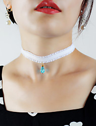 cheap -Choker Necklace Pendant Necklace Necklace Women's Transparent Synthetic Sapphire Blue Dainty Elegant Sweet Modern Cute Cute Lovely Wedding White 28 cm Necklace Jewelry 1pc for Wedding Street Daily