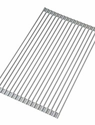 cheap -roll up large dish drying rack, over the sink multipurpose silicone stainless steel dish drainer, foldable dish drying mat and dry dishes organizer 20.5'' x 13.12'' (warm gray)