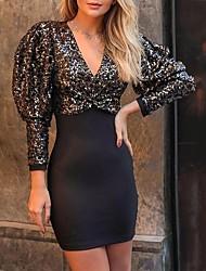 cheap -Women's Sheath Dress Short Mini Dress - Long Sleeve Solid Color Sequins Patchwork Fall Sexy Party 2020 Black S M L XL XXL
