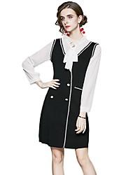 cheap -Women's A-Line Dress Knee Length Dress - Long Sleeve Solid Color Patchwork Fall V Neck Work Elegant Slim 2020 Black M L XL XXL