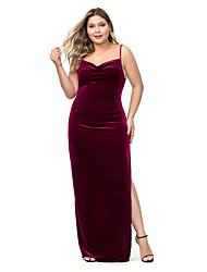 cheap -Women's A Line Dress Maxi long Dress Blue Purple Wine Sleeveless Solid Color Backless Split Summer V Neck Sexy 2021 XXL 3XL 4XL 5XL 6XL / Plus Size