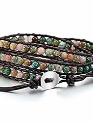 cheap -alloy genuine leather bracelet bangle cuff rope for women boys kids gemstone beads braided 3 wraps & 5 wraps stone adjustable handmade jewelry gift