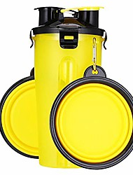 cheap -dog water bottle dog bowls for traveling pet food container 2-in-1 with collapsible dog bowls, outdoor dog water bowls for walking hiking travelling … (yellow)