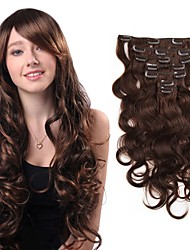 cheap -body wave clip in human hair extensions malaysian brazilian virgin human hair weaves clip ins 14 2070g 22100g