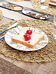 cheap -American Golden Texture PP Woven Round Placemat Solid Color Dining Table Insulation Pad Hotel Western Placemat 2pcs