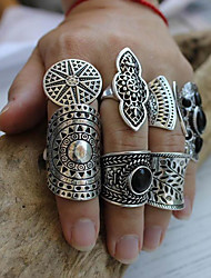 cheap -Band Ring Retro Silver Resin Alloy Leaf Love Precious Luxury Unique Design Vintage 8pcs Index Finger Middle Finger Ring Finger Little Thumb / Women's