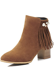 cheap -Women's Boots Chunky Heel Round Toe Casual Basic Daily Tassel Solid Colored Suede Booties / Ankle Boots Walking Shoes Light Brown / Black