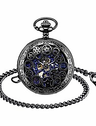 cheap -mens pocket watch with chain, retro men analogue steampunk skeleton watches, mechanical hand wind pocket fob watch with roman numerals for men