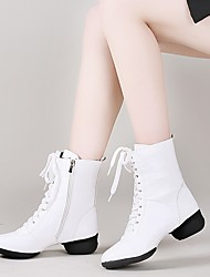 cheap -Women's Dance Boots Boots Thick Heel Red White Black Lace-up / Performance
