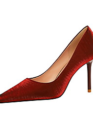 cheap -Women's Heels Stiletto Heel Pointed Toe Sexy Party & Evening Solid Colored Elastic Fabric Almond / Black / Red