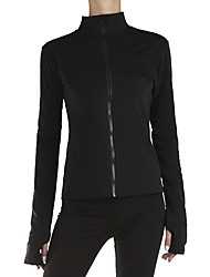 cheap -Figure Skating Fleece Jacket Women's Girls' Ice Skating Jacket Top Black Stretchy Training Skating Wear Warm Crystal / Rhinestone Long Sleeve Ice Skating Winter Sports Figure Skating / Kids