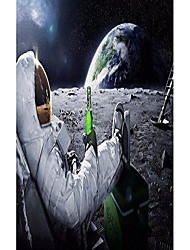 "cheap -astronauts on the moon fabric cloth rolled wall poster print - size: (40"" x 24"" / 21"" x 13"")"
