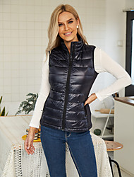 cheap -Women's Fall Winter 90% Down Waterproof Vest Parka Sports & Outdoor Going out Basic Patchwork Solid Colored Nylon Stand Collar Black / Blue XS / S / M