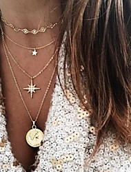 cheap -Women's Necklace Layered Necklace Stacking Stackable Star European Trendy Fashion Alloy Gold 30 cm Necklace Jewelry 1pc For