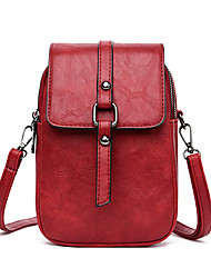 cheap -Women's Bags PU Leather Shoulder Messenger Bag Mobile Phone Bag Crossbody Bag Solid Color Casual Outdoor Traveling Black Red Green Brown