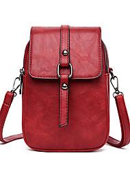 cheap -Women's Bags PU Leather Shoulder Messenger Bag Mobile Phone Bag Messenger Bag Solid Color Casual Outdoor Traveling MessengerBag Black Red Green Brown