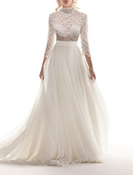 cheap -A-Line Wedding Dresses High Neck Sweep / Brush Train Chiffon Lace 3/4 Length Sleeve Romantic See-Through Illusion Sleeve with Appliques 2020