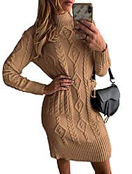 povoljno -ženska pulover s puloverima s puloverima u teksturi s visokim vratom, velika smeđa