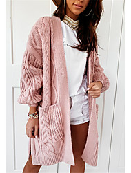 cheap -Women's Basic Knitted Hollow Out Solid Color Plain Cardigan Acrylic Fibers Long Sleeve Sweater Cardigans V Neck Fall Winter Blushing Pink Beige Gray