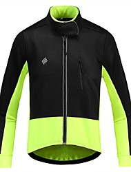 cheap -KORAMAN Men's Cycling Jacket Winter Fleece Spandex Polyester Bike Winter Fleece Jacket Top Thermal Warm Windproof Breathable Sports Patchwork Yellow / Orange / Green Clothing Apparel Regular Fit Bike