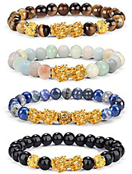 cheap -feng shui pixiu good luck bracelets for men women natural gemstone healing energy pi yao dragon charm beaded bracelet attach wealth money jewelry 8mm