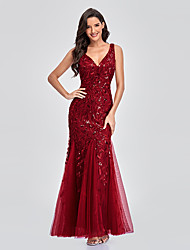 cheap -Mermaid / Trumpet Empire Elegant Party Wear Formal Evening Valentine's Day Dress V Neck Sleeveless Floor Length Tulle with Embroidery 2021