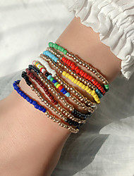 cheap -10pcs Women's Chain Bracelet Bead Bracelet Friendship Bracelet Stacking Stackable Fashion Birthday Love Colorful Fashion Punk Trendy Boho Glass Bracelet Jewelry Rainbow For Sport Gift Prom Date