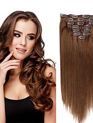 cheap -Febay Clip In Human Hair Extensions Straight Human Hair