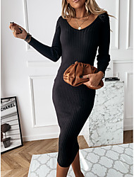 cheap -Women's Sweater Jumper Dress Maxi long Dress - Long Sleeve Solid Color Patchwork Fall V Neck Casual Hot Slim 2020 White Black Khaki S M L XL