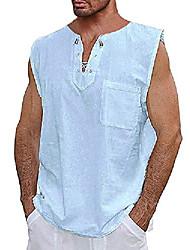 cheap -mens lace up sleeveless shirts 100% cotton casual tank top summer beach hippie blouse tops sky blue