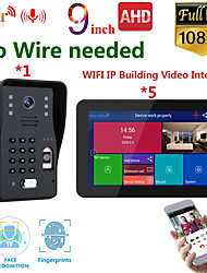 cheap -MOUNTAINONE SY909B018WF15 9 Inch Wireless WiFi Smart IP Video Door Phone Intercom System With 1x 1080P Wired Doorbell Camera And 5x Monitor Support Remote Unlock