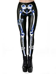 cheap -Women's Exaggerated Breathable Slim Halloween Leggings Pants Skull Full Length Print High Waist Black