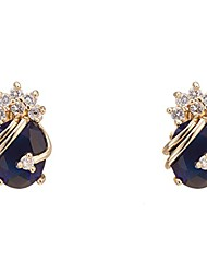cheap -elegant 18k gold plated cubic zirconia multicolor stud earrings for women
