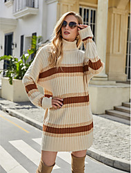 cheap -Women's Basic Knitted Striped Color Block Pullover Acrylic Fibers Long Sleeve Sweater Cardigans Turtleneck Fall Winter Beige