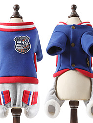 cheap -Dog Sweatshirt Baseball Puppy Clothes Color Block Sports Fashion Winter Dog Clothes Puppy Clothes Dog Outfits Red Blue Green Costume Large Dog for Girl and Boy Dog Cotton S M L XL